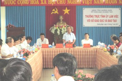 Thường trực Tỉnh ủy Quảng Ngãi làm việc với Sở Giáo dục và Đào tạo