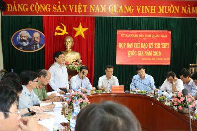 Họp Ban chỉ đạo thi THPT quốc gia tỉnh Quảng Ngãi năm 2018