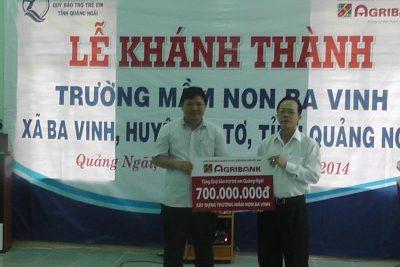 Khánh thành Trường Mầm non Ba Vinh do Agribank tài trợ