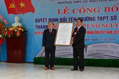 Trường THPT Số 1 Sơn Tịnh chính thức đổi tên thành Trường THPT Võ Nguyên Giáp