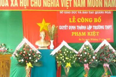 Lễ công bố quyết định thành lập Trường THPT Phạm Kiệt